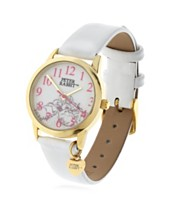 776684966 Beatrix Potter Children's Sleeping Bunnies Gold Steel Case and White  Leather Watch 28mm
