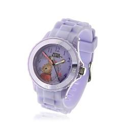 Beatrix Potter Children's Flopsy Bunny Time Teacher Light Purple Silicone Strap Watch