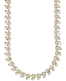 "Anne Klein Gold-Tone Crystal Collar Necklace, 16"" + 3"" extender"
