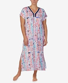 Ellen Tracy Plus-Size Printed Pom-Pom Trim Caftan