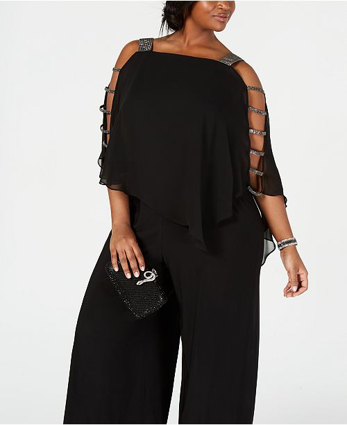 21c44f09540 MSK Plus Size Embellished Cape-Overlay Jumpsuit - Dresses - Plus ...