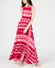 I.N.C. Tie Dye Border-Print Maxi Dress, Created for Macy's