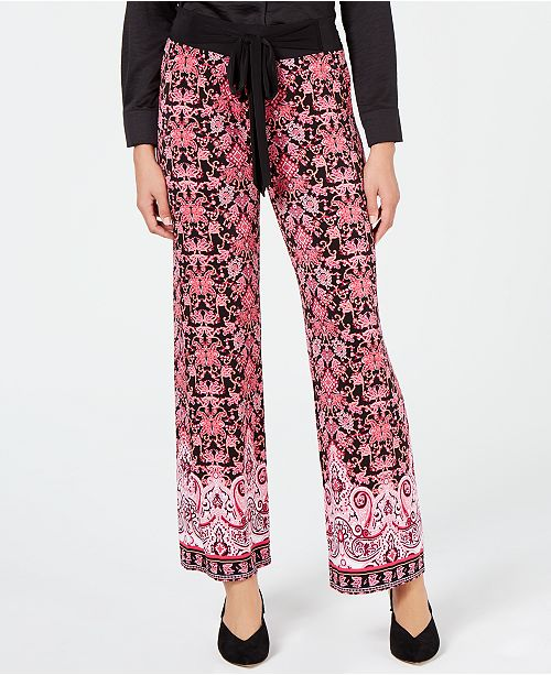 INC International Concepts I.N.C. Petite Printed Tie-Front Soft Pants, Created for Macy's