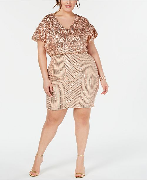 Betsy & Adam Plus Size Embellished Blouson Dress ...
