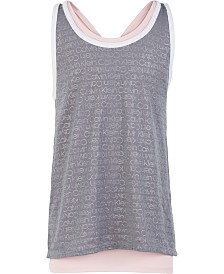 Calvin Klein Performance Big Girls Faux-Layer Racerback Tank Top