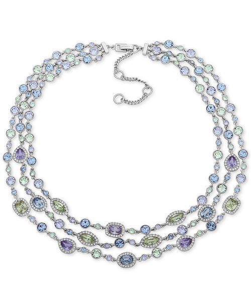 "Givenchy Silver-Tone Multi-Crystal Triple-Row Collar Necklace, 16"" + 3"" extender"