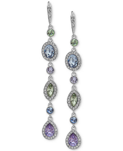 Givenchy Silver-Tone Multi-Crystal Linear Extra Large Drop Earrings