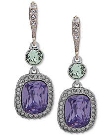 Givenchy Silver-Tone Multi-Crystal Large Drop Earrings