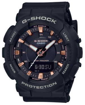 G-shock\\\'s chunky black and rose gold-tone timepiece features step tracking with goal awareness in a simple analog-digital presentation. Style #GMAS130PA-1A