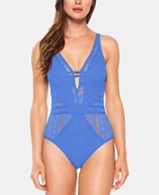 Becca Color Play Crochet Plunging One-Piece Swimsuit