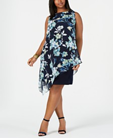 Connected Plus Size Floral Chiffon Overlay Dress