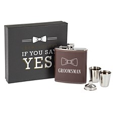 Cathy's Concepts Groomsman Brown Leather Wrapped Flask Set