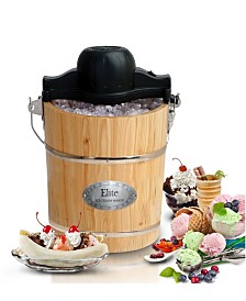 Elite Gourmet 6 Quart Old Fashioned Pine Bucket Electric, Manual Ice Cream Maker