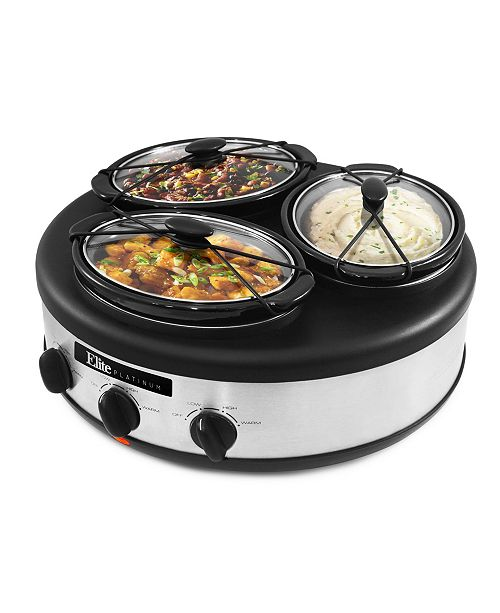 Elite Platinum 3 x 1 5 Quart Triple Slow Cooker