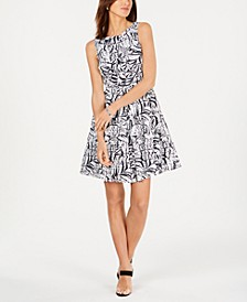 Palm-Print Fit & Flare Dress