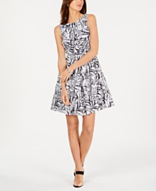 Taylor Petite Printed Eyelet Fit & Flare Dress