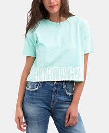 Jordache Kimberly Cotton Cropped Logo T-Shirt