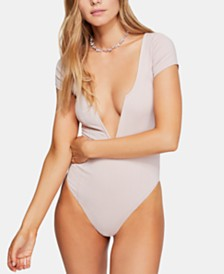 Free People Deep Conversations Plunging Thong Bodysuit