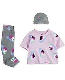 Nike Little Girls Futura Logo Crop Top, Leggings & Cap Separates