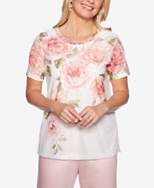 Alfred Dunner Petite Society Pages Printed Pointelle Top