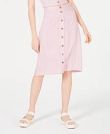 Ultra Flirt Striped Button-Front Skirt