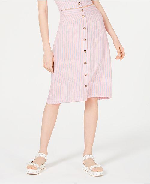 Ultra Flirt Striped Button-Front Skirt