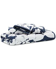 """Lauren Ralph Lauren Sanders  Antimicrobial Cotton Floral 13"""" x 13"""" Wash Towel"""