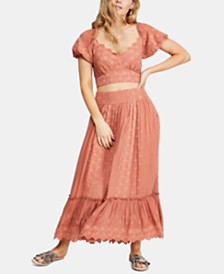 Free People Ella Set Eyelet Crop Top & Maxi Skirt