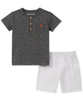 b48d11474 Calvin Klein Baby Boys 2-Pc. Logo Henley Top & Shorts Set