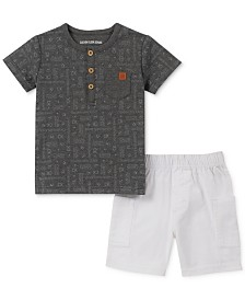 Calvin Klein Baby Boys 2-Pc. Logo Henley Top & Shorts Set