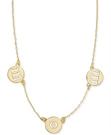 "Kate Spade New York  Gold-Tone MOM Collar Necklace, 15-1/2"" + 3"" extender"