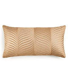 "Home Design Studio Deco Leaf Embroidered 14"" x 26"" Decorative Pillow, Created for Macy's"