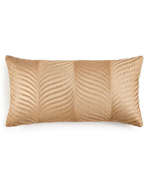 """Home Design Studio  Deco Leaf Embroidered 14"""" x 26"""" Decorative Pillow, Created for Macy's"""