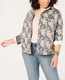 Lucky Brand Plus Size Floral-Print Denim Jacket