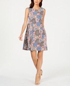 Connected Petite Pinwheel Fit & Flare Dress