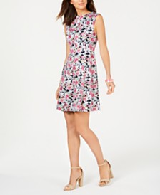 Connected Petite Floral Seamed Fit & Flare Dress
