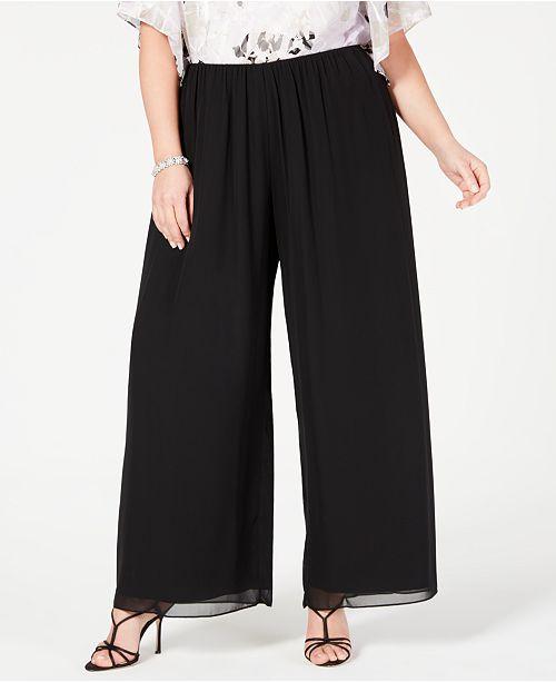 Plus Size Wide-Leg Chiffon Pants