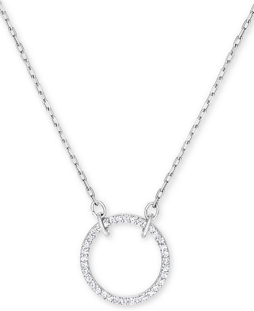 "Swarovski Silver-Tone Crystal Open Pendant Necklace, 14-1/8"" + 2"" extender"