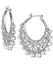 Silver-Tone Crystal & Imitation Pearl Filigree Medium Medium Hoop Earrings