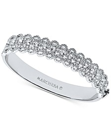 Silver-Tone Crystal Filigree Bangle Bracelet