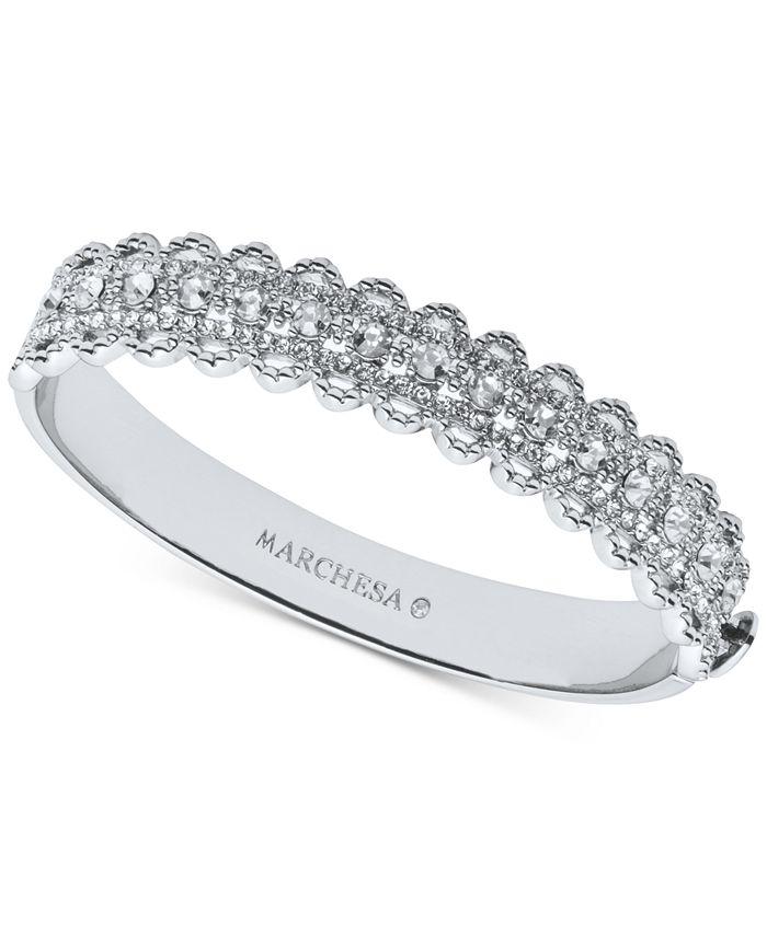 Marchesa - Silver-Tone Crystal Filigree Bangle Bracelet