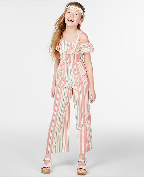 Rare Editions Big Girls Striped Ruffle Jumpsuit
