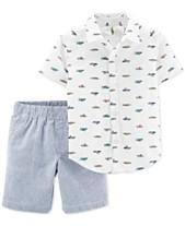 d7313a92 Carter's Toddler Boys 2-Pc. Printed Shirt & Striped Shorts Cotton Set