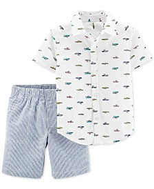 Carter's Toddler Boys 2-Pc. Printed Shirt & Striped Shorts Cotton Set