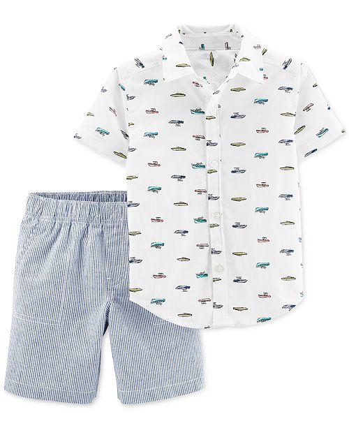Carter's Toddler Boys 2-Pc. Printed Shirt & Striped Shorts Cotton Set