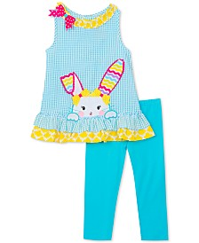 Little Girls 2-Pc. Bunny Seersucker Tunic & Leggings Set