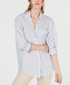 Weekend Max Mara Tarocco Linen Striped Button-Up Shirt