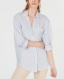Weekend Max Mara Tarocco Linen Striped Button-Up Shirt