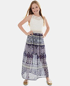 BCX Big Girls Lace Bodice Maxi Dress
