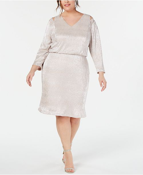 Plus Size Split-Shoulder Metallic Blouson Dress